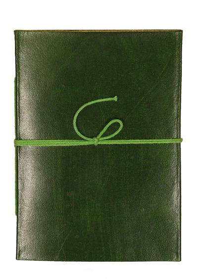 Plain Leather Notebook 12.5x17.5cm Green
