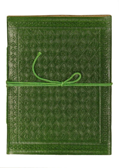 Embossed Leather Notebook 11x15cm Green