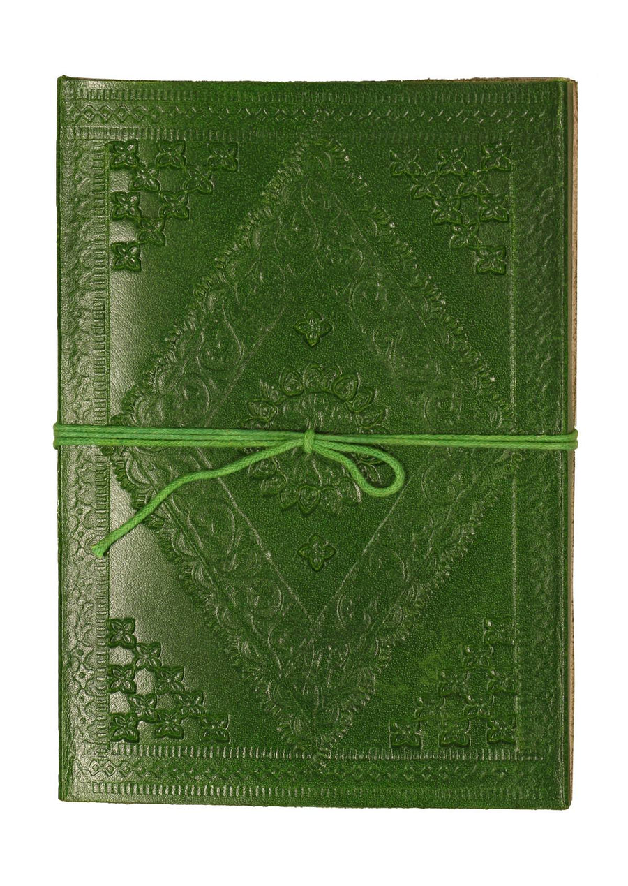 Embossed Leather Notebook 12.5x17.5cm Green