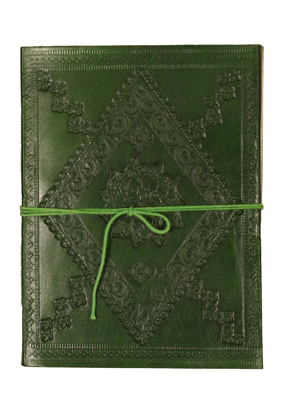 Embossed Leather Notebook 15x20cm Green