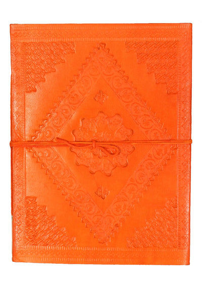 Embossed Leather Notebook 15x20cm Orange