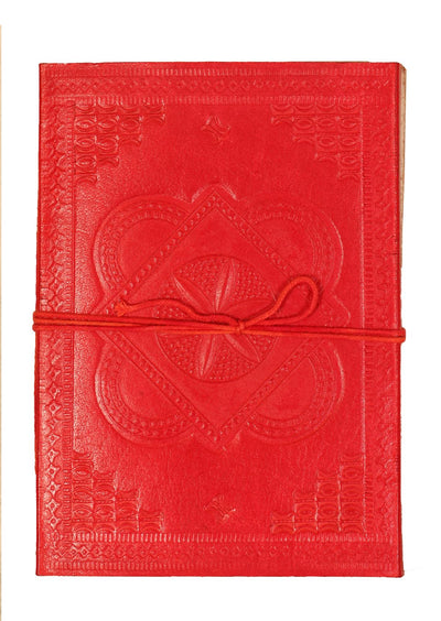 Embossed Leather Notebook 12.5x17.5cm Red