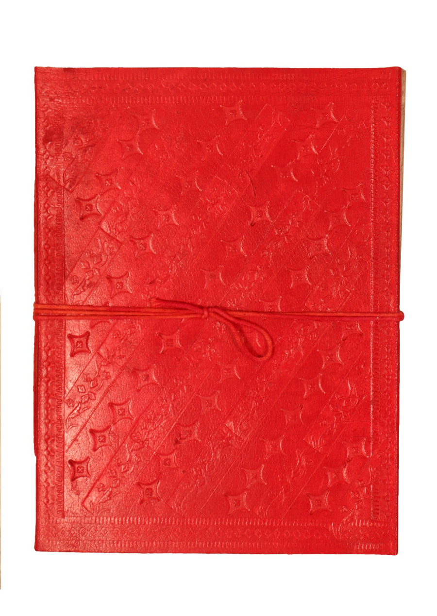 Embossed Leather Notebook 15x20cm Red