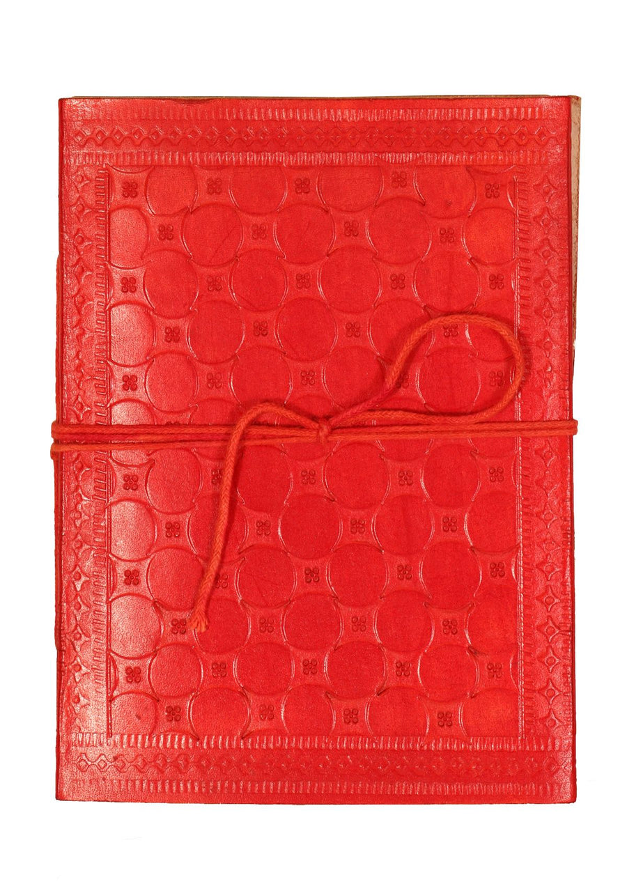 Embossed Leather Notebook 11x15cm Red