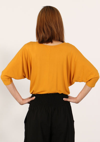 3/4 Sleeve V-neck Batwing Top Mustard