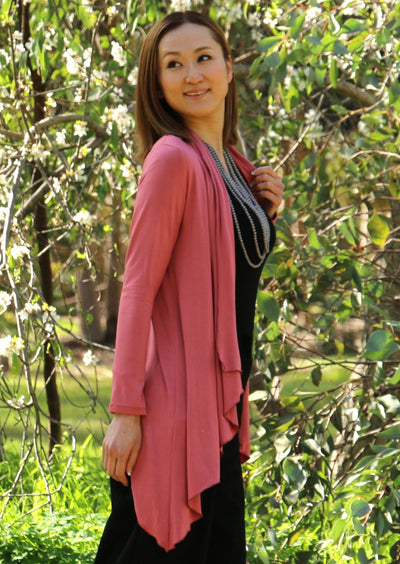 Irregular Hem Stretch Cardi Pink