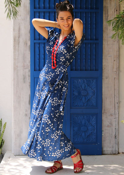 Boho Maxi Dress Rayon Francesca Blue Floral | Karma East Australia