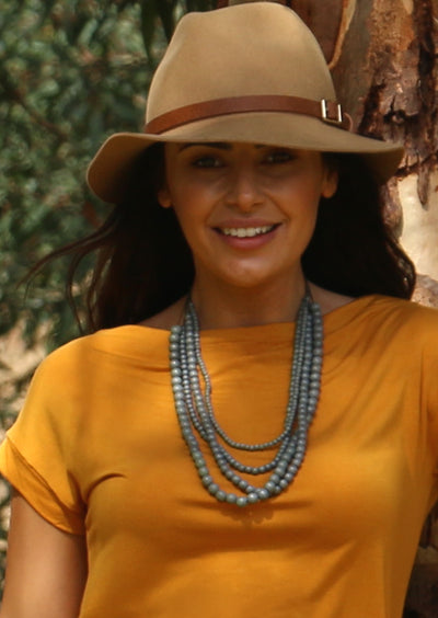 Layered Bead Necklace Grey | Karma East Australia