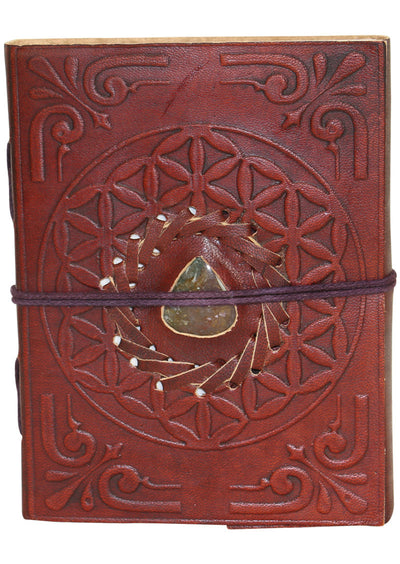Leather Notebook Medium with stone12x15cm