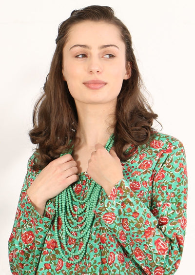 Wooden Layered Necklace Green | Karma East Australia