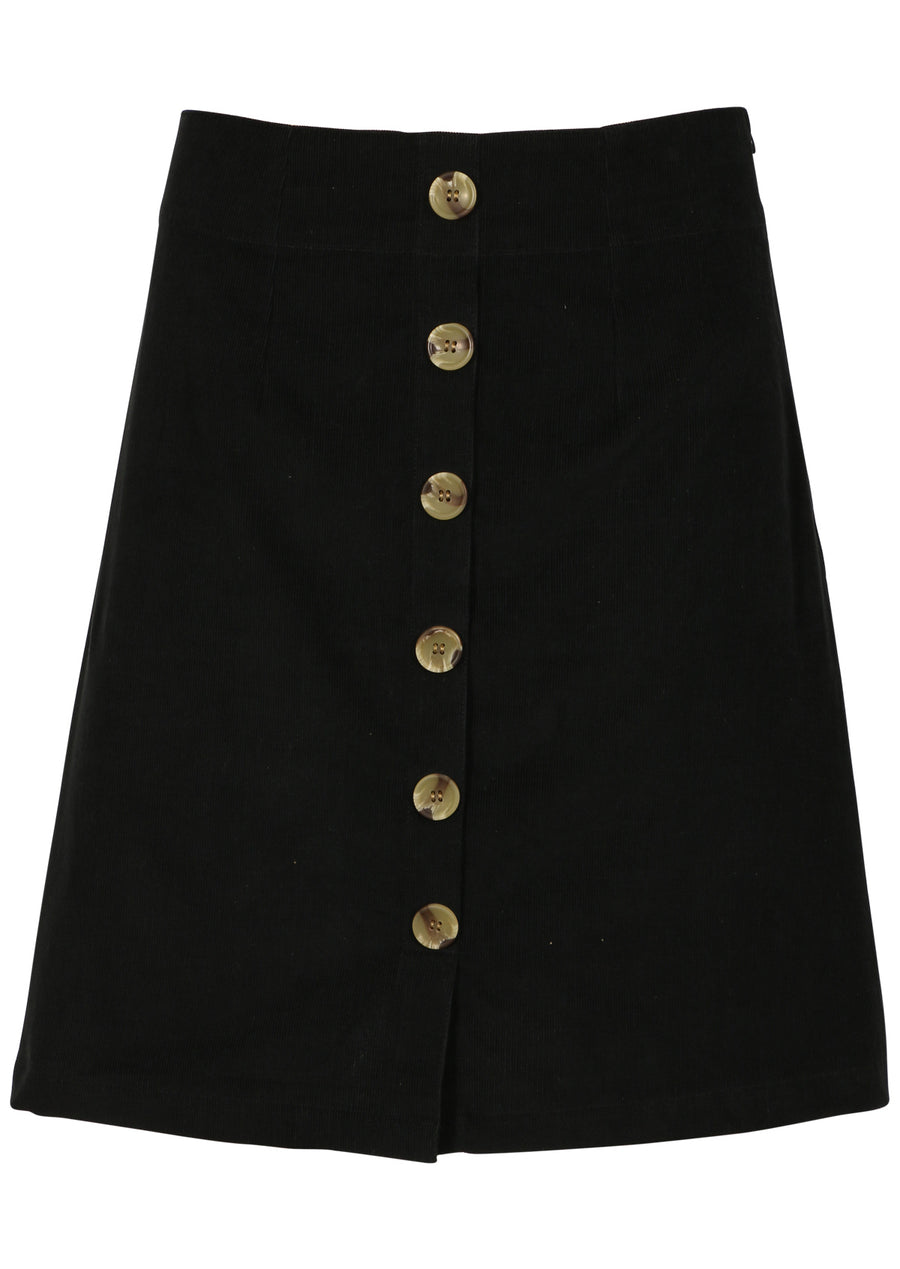 Cord Button Skirt Black