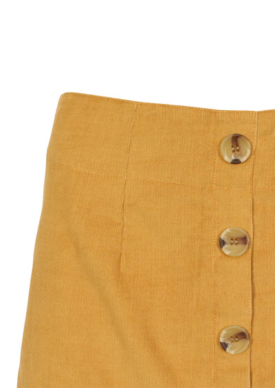 Cord Button Skirt Mustard