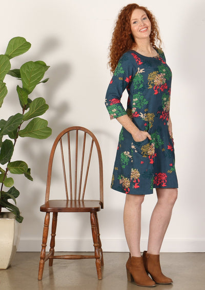 3/4 Sleeve Cord Dress Botanical