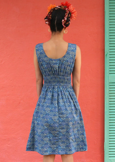 Dharma Dress Fan Flower Blue