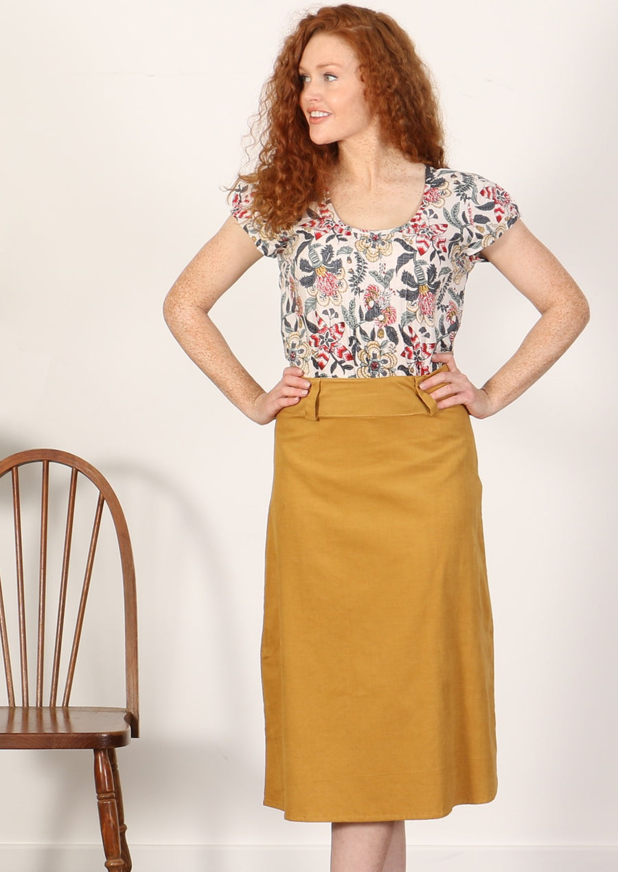 Belt Loop Skirt Mustard
