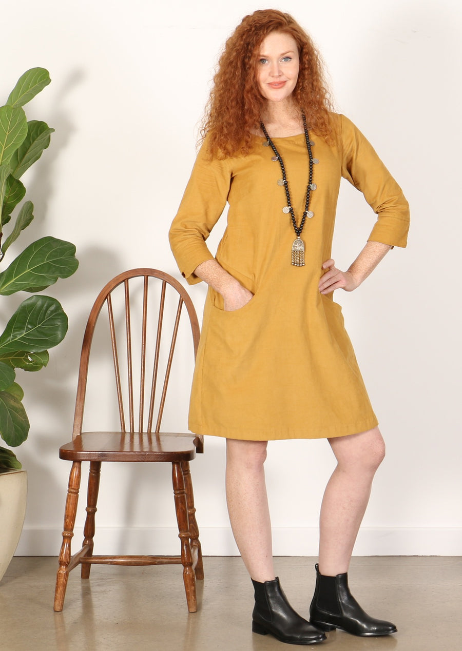 3/4 Sleeve Cord Dress Mustard