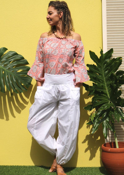 White Cotton Harem Pants | Karma East Australia