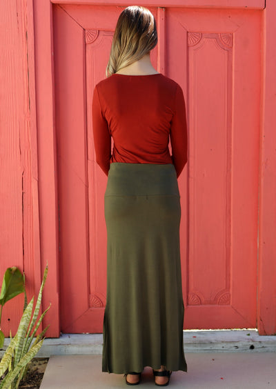 Long Stretch Skirt Olive