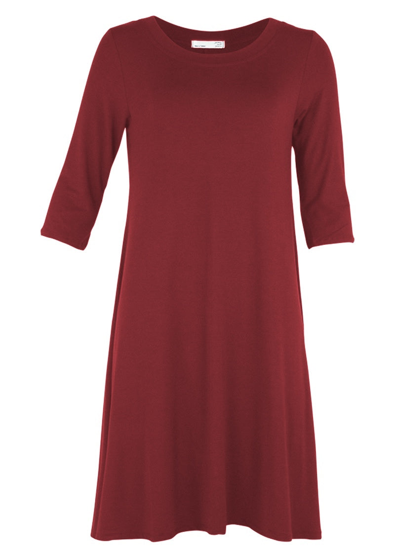 Half Sleeve Jersey Dress Maroon