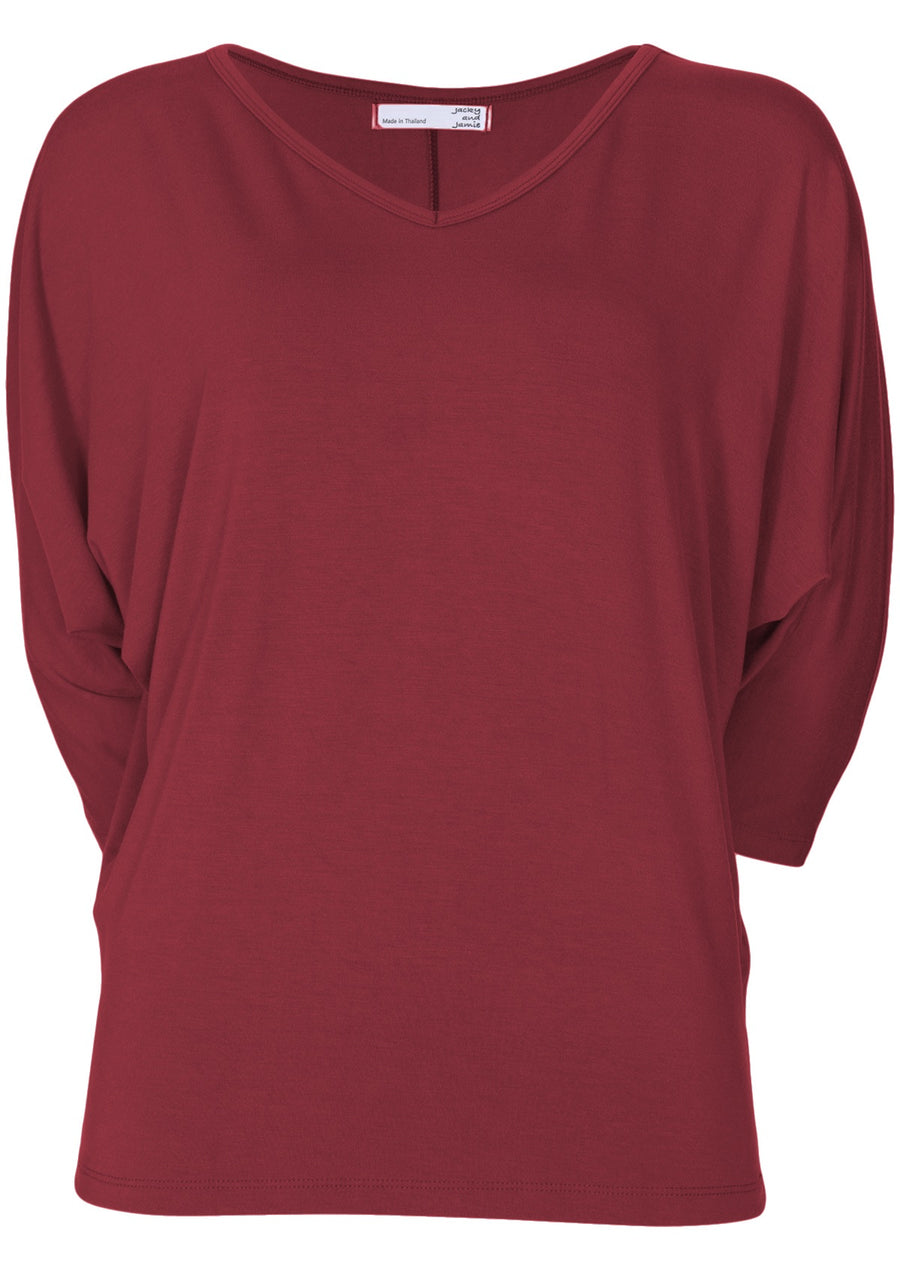 3/4 Sleeve V-Neck Batwing Top Maroon