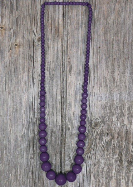 Long Wood Bead Necklace Purple | Karma East Australia