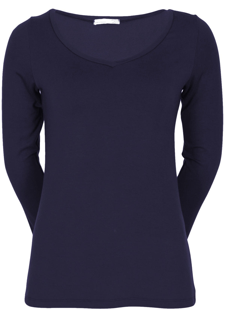 Long Sleeve Stretch V-neck Top Midnight