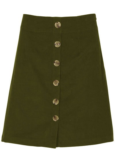 Cord Button Skirt Olive