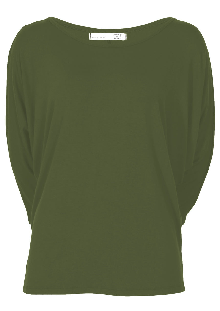3/4 Sleeve Batwing Top Olive