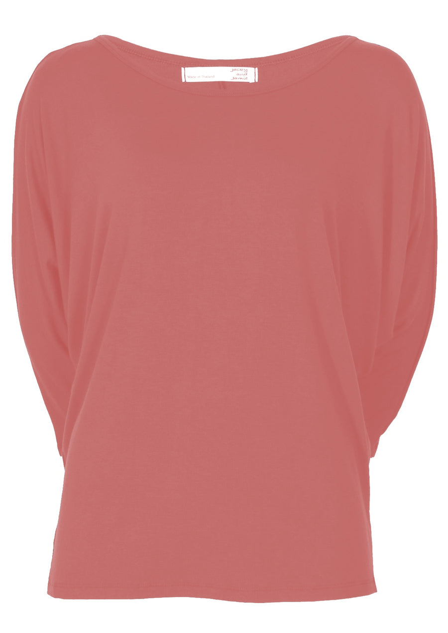 3/4 Sleeve Batwing Top Pink