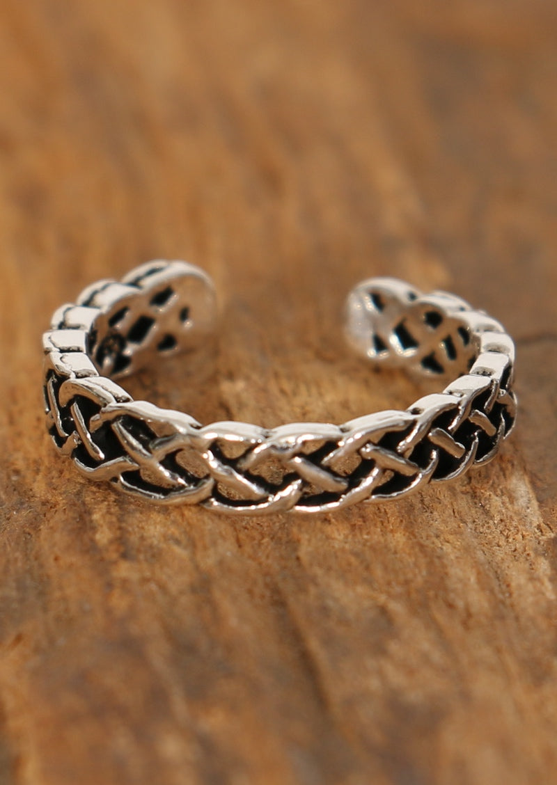Silver Plaited Toe Ring
