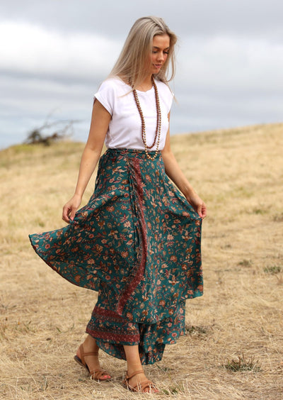 Sari Wrap Skirt Teal