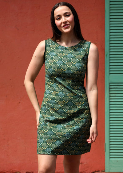 Shell Dress Fan Flower Green