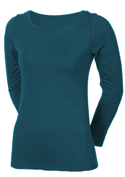 Stretch Rayon Long Sleeve Top Teal
