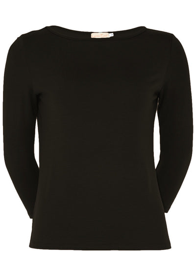 Fitted Boat Neck Top Black