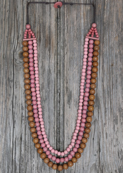 Wooden Layered Necklace Pink | Karma East Australia