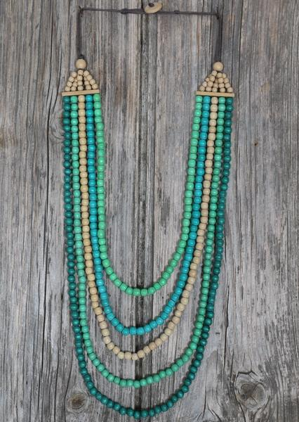 Long Wooden Necklace Green | Karma East Australia