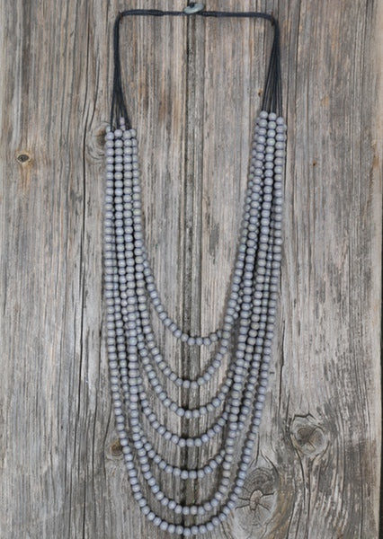Wooden Layered Necklace Grey | Karma East Australia