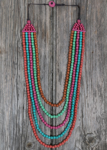 Long Wooden Necklace Pink | Karma East Australia