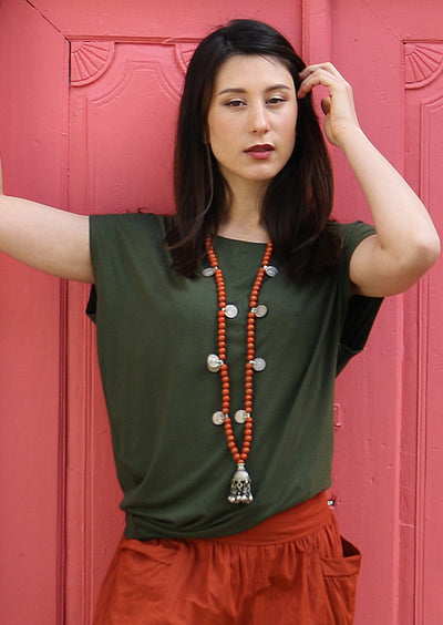 Asymmetrical Rayon Top Khaki