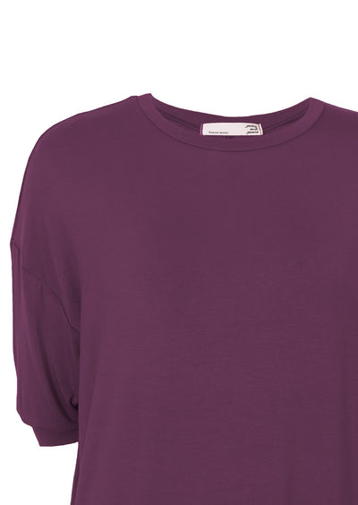 Cuffed Sleeve Jersey Dress Aubergine