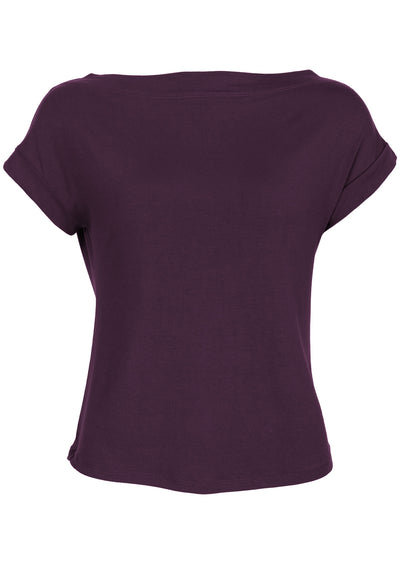 Wide Neck Mod Top Aubergine