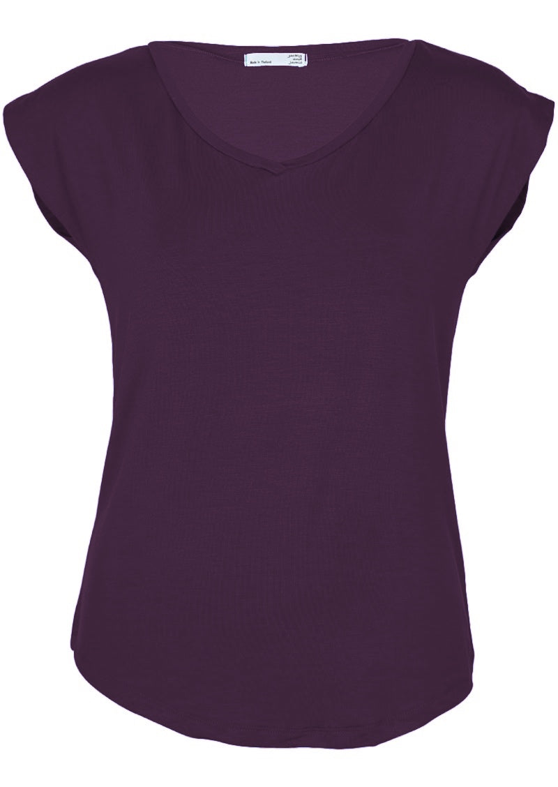 Simple Top V-neck Aubergine