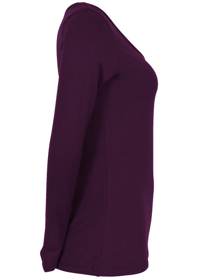 Stretch Rayon Long Sleeve Top Aubergine