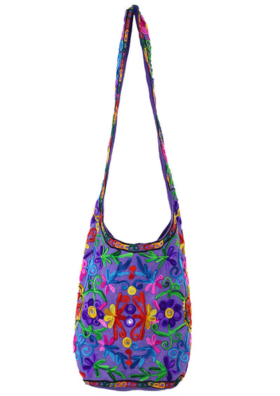 Embroidered Flower Sling Bag