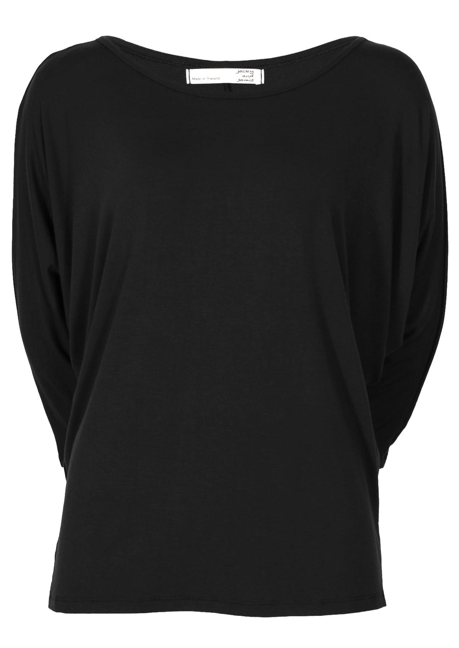 3/4 Sleeve Batwing Top Black