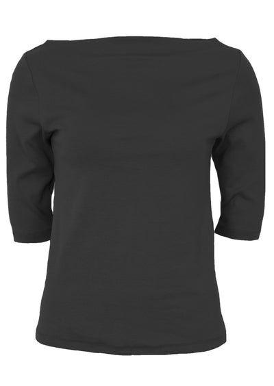 Stretch Cotton Wide Neck Top Black