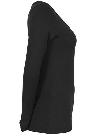 Stretch Rayon Long Sleeve Top Black