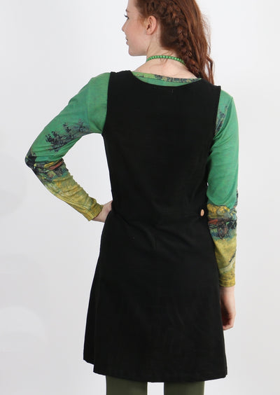 Cord Button Dress Black