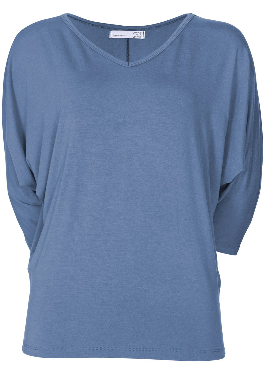 3/4 Sleeve V-neck Batwing Top Blue