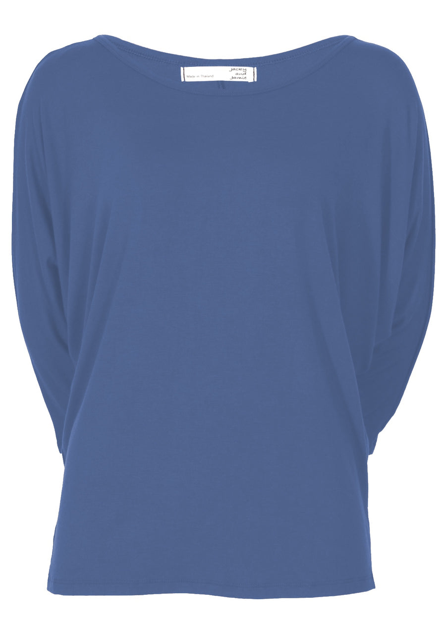 3/4 Sleeve Batwing Top Blue